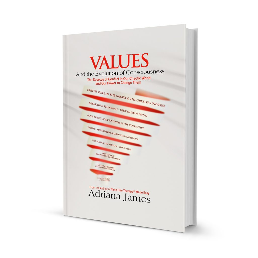 adriana james new book, values and the evolution of consciousness front cover